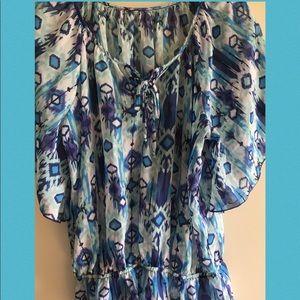 Tops - Sheer blue floral top